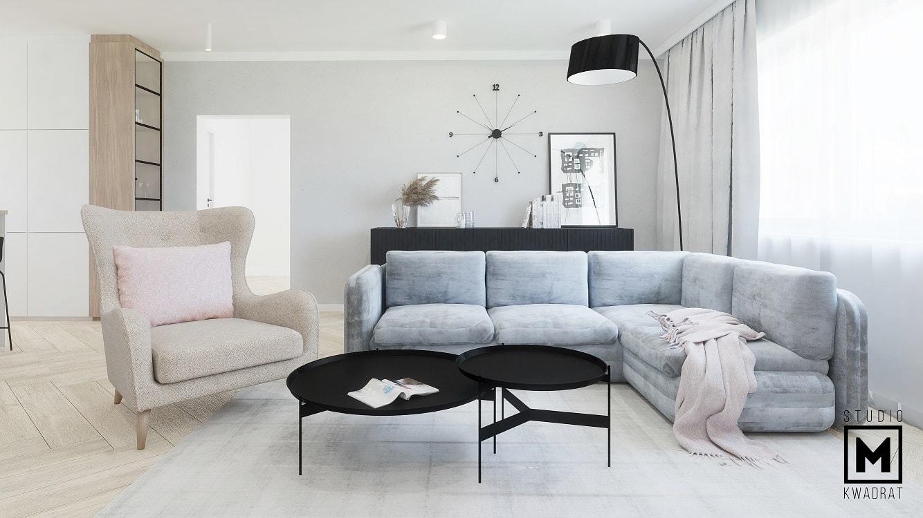 Jasny przytulny salon duże wnętrze