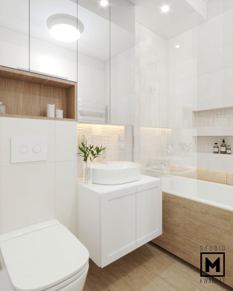 Szafki łazienkowe na wymiar lustrzane fronty nastrojowa przytulna łazienka