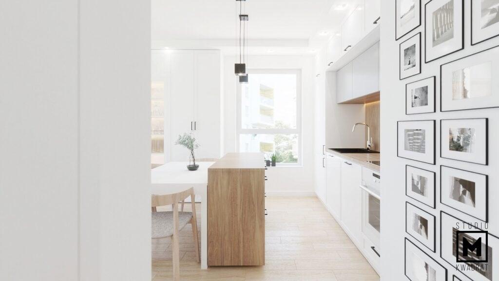 Wyspa w małej kuchni w bloku modna stylowa kuchnia