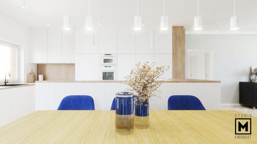 Duży rozkładany stół drewniany krzesła classic blue niebieskie tapicerowane najmodniejsza jadalnia