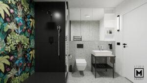Jasna łazienka z prysznicem wykończonym na czarno z dekoracyjnym wzorem z płytek.