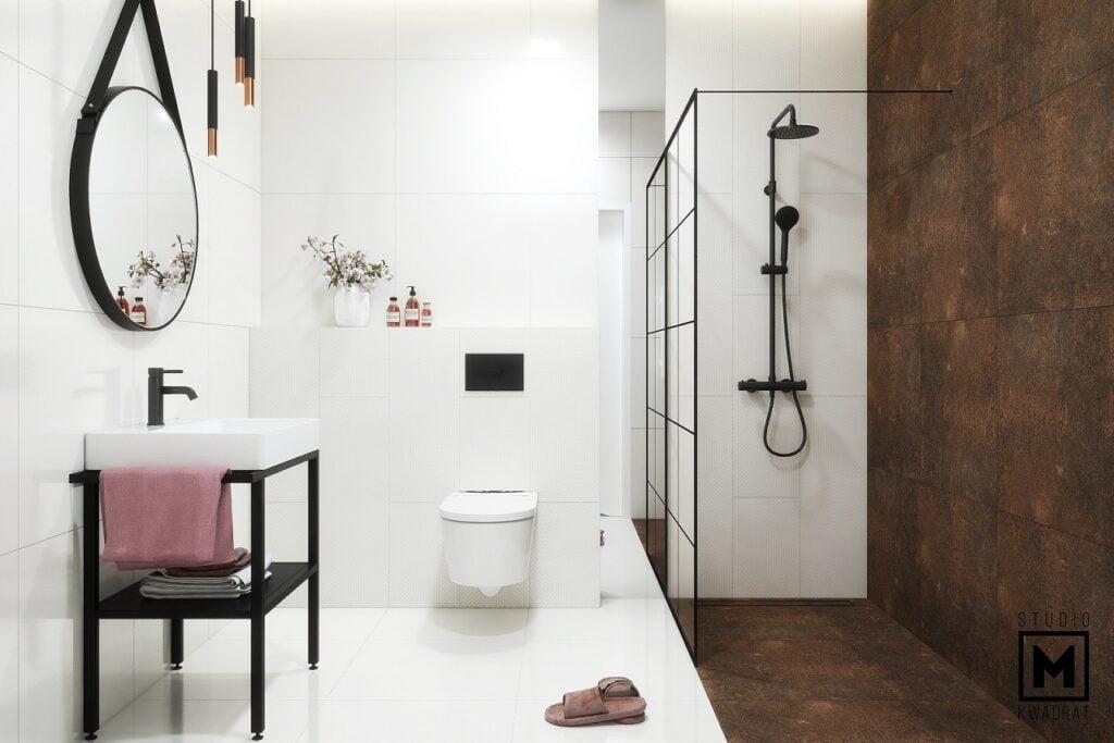 projekt wnętrz łazienki z prysznicem walk-in oraz z rdzawymi płytkami