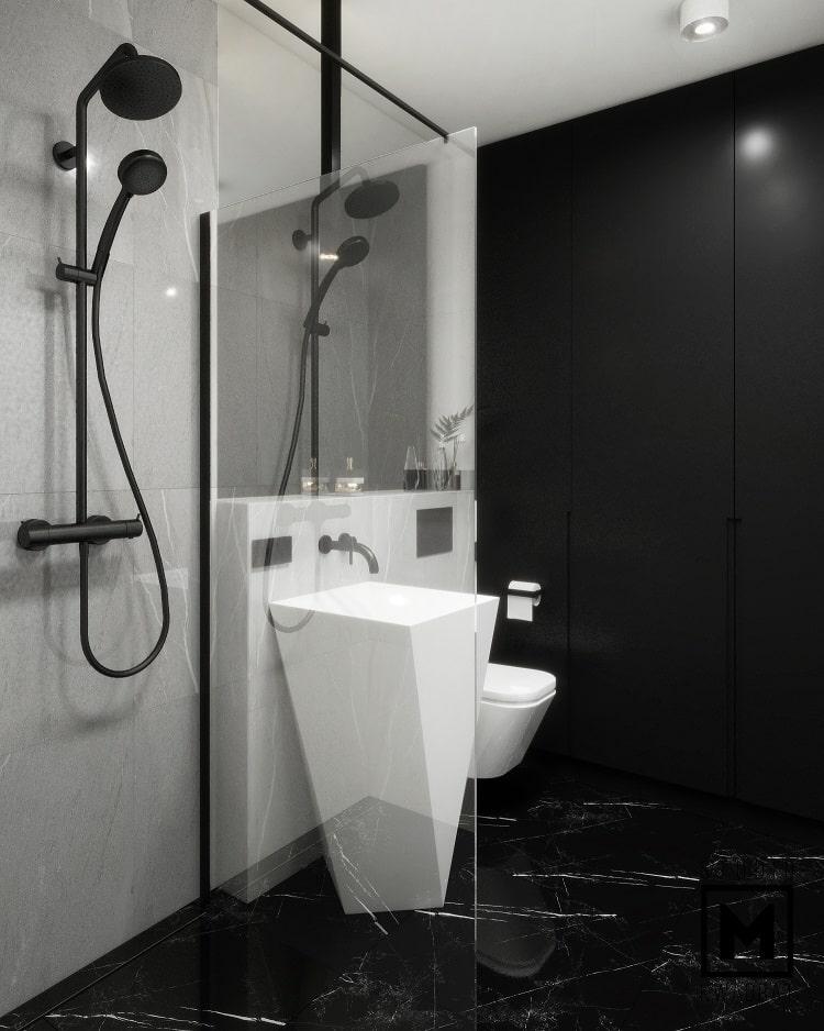 łazienka z prysznicem walk-in oraz z czarną armaturą-min
