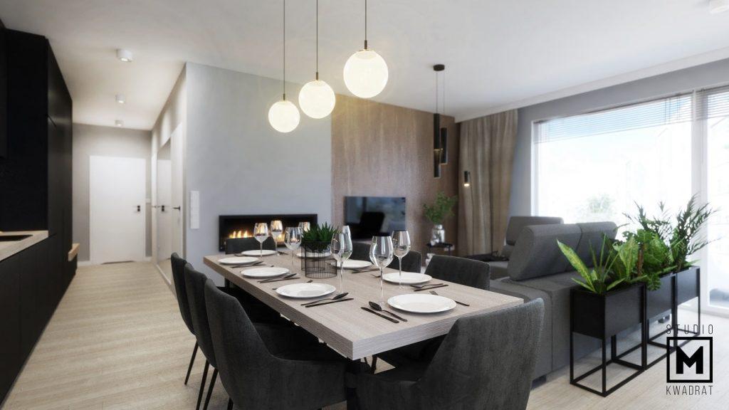 projekt dużego salonu połączonego z kuchnią i jadalnią-min