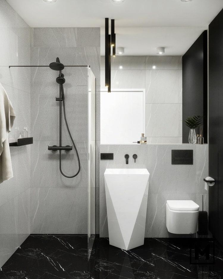 projekt monochromatycznej łązienki z wysoką stojącą umywalką-min