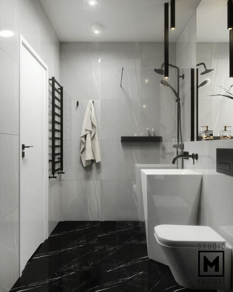 projekt wnętrz eleganckiej łazienki glamour-min