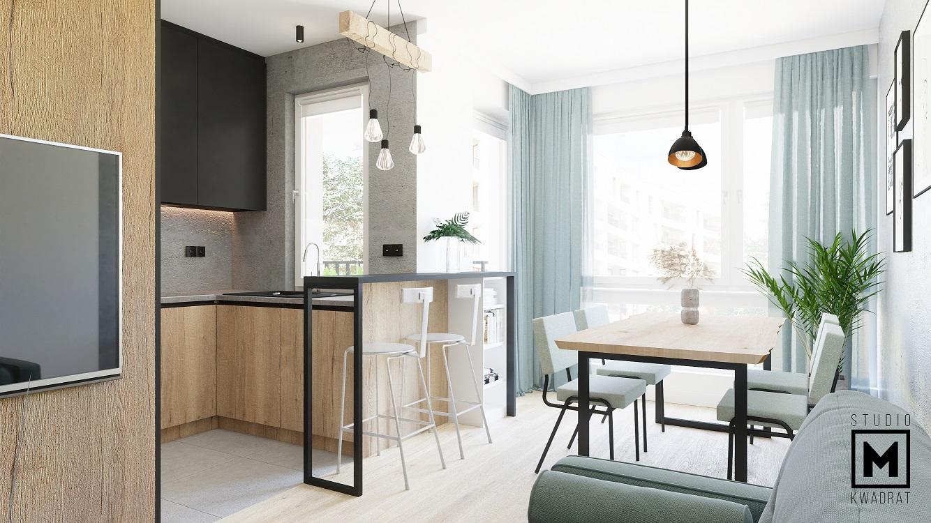 Loftowy salon z aneksem kuchennym