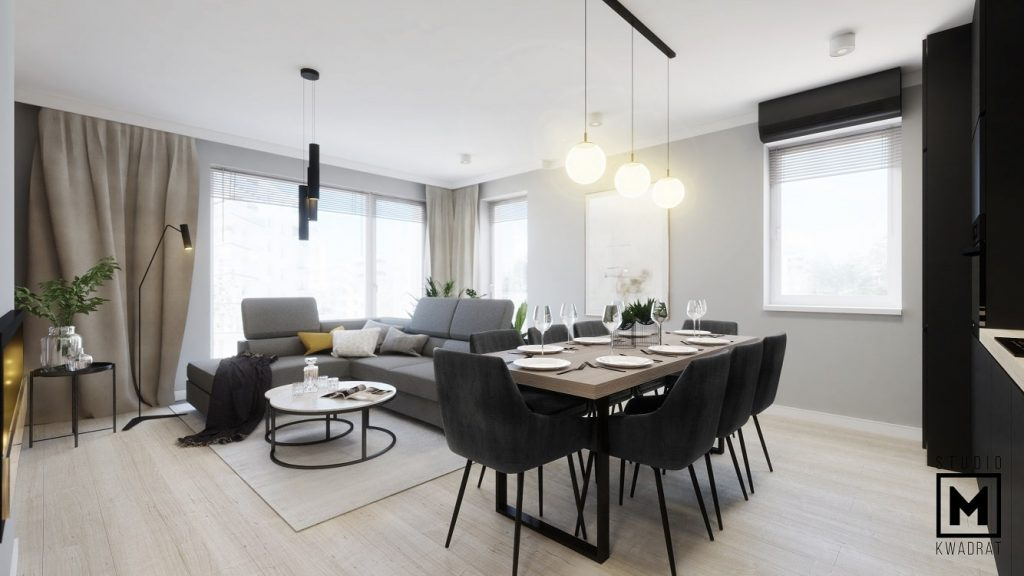projektant wnętrz poznań monochromatyczny nowoczesny salon z czarnymi krzesłami-min