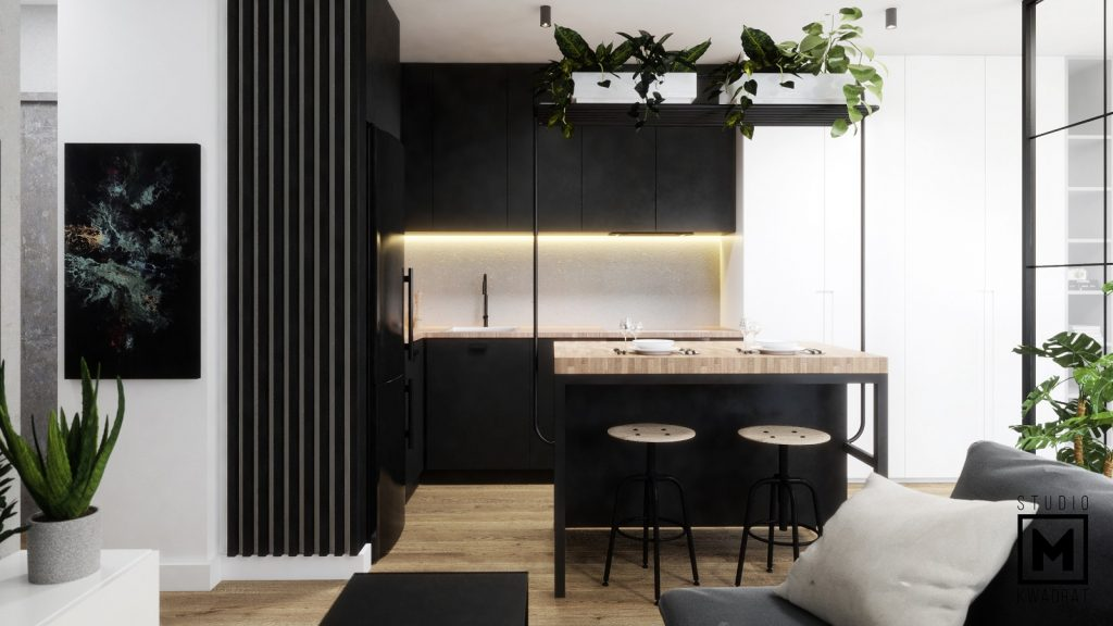 aneks kuchenny w kawalerce w stylu industrialnym loftowym