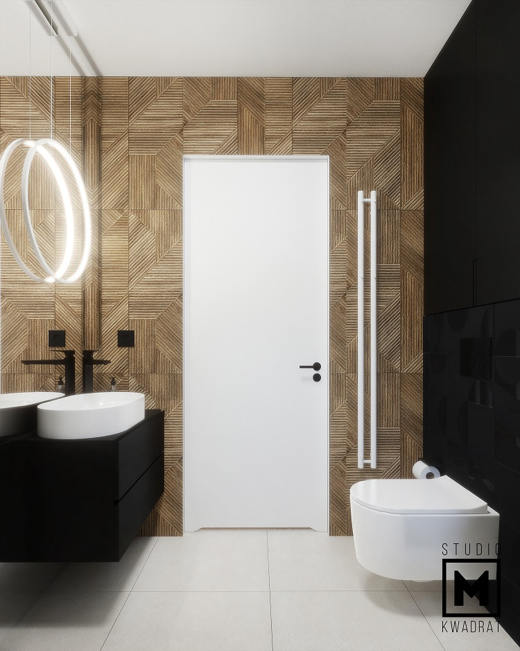 mała łazienka drewniana ściana płytki 3d