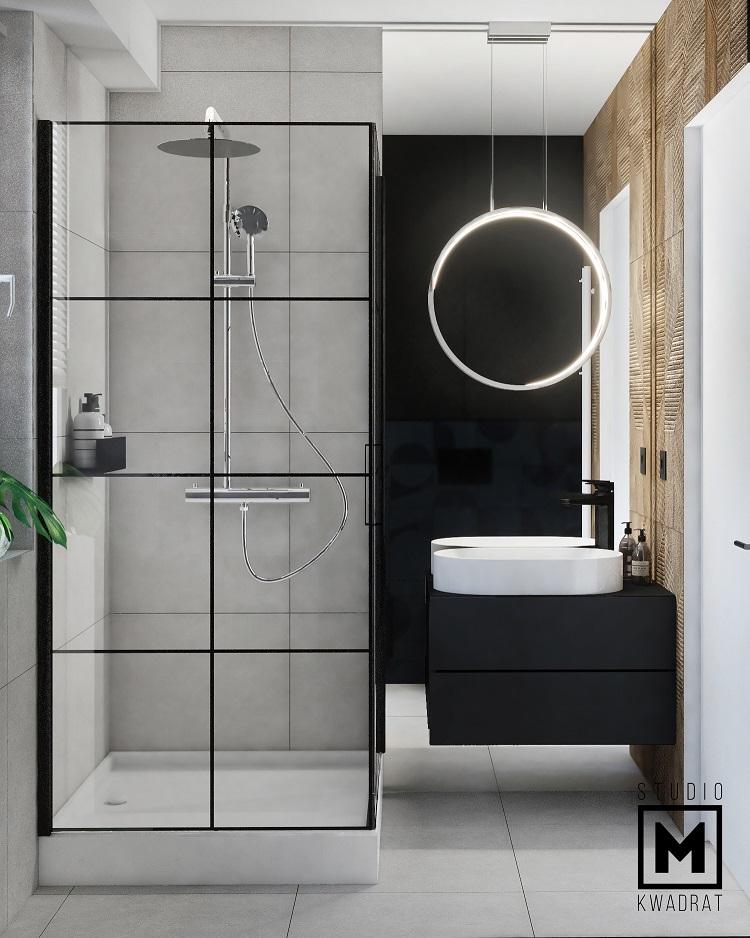 loftowa kabina industrialna łazienka w kawalerce