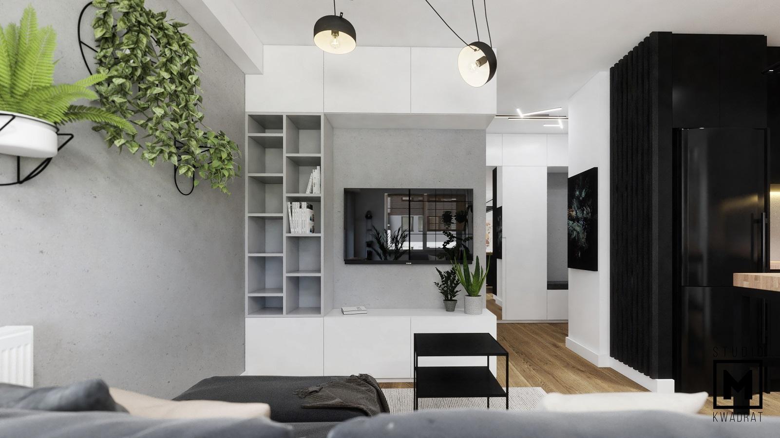 projekt wnętrza salonu w kawalerce w stylu loftowym