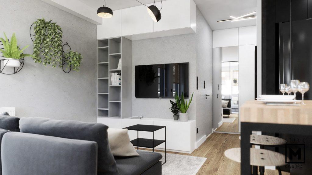 projektant wnętrz salon z aneksem kuchennym w kawalerce w bloku