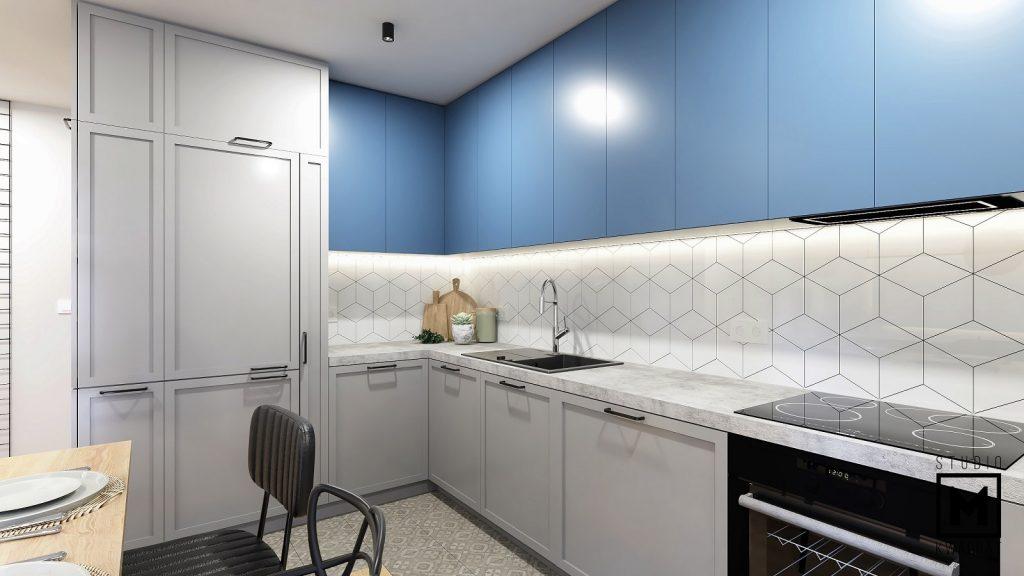 jasna kuchnia z niebieskimi frontami w projekcie wnętrz poznań