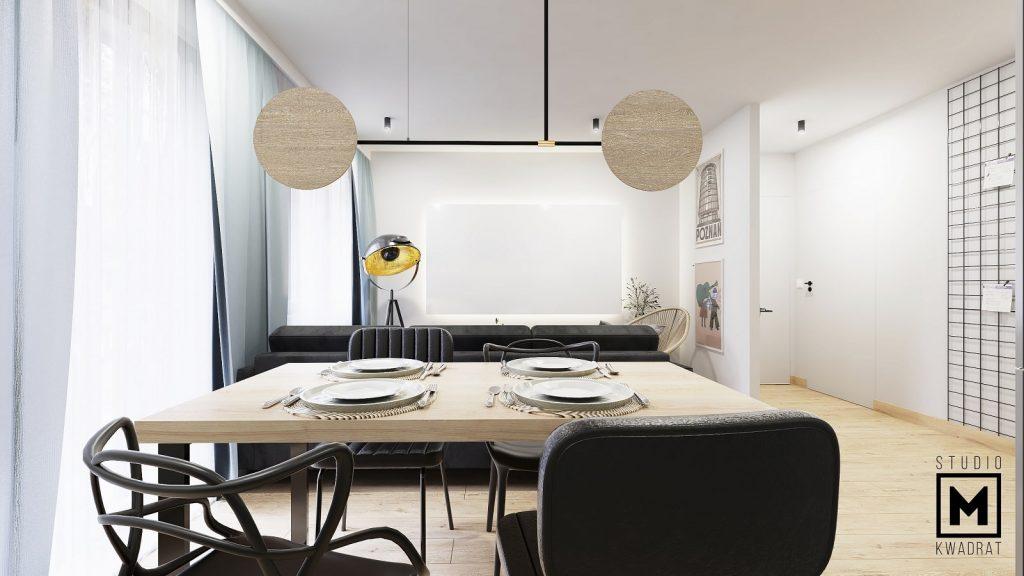 projektant wnętrz Poznań mieszkanie w bloku salon z aneksem kuchennym