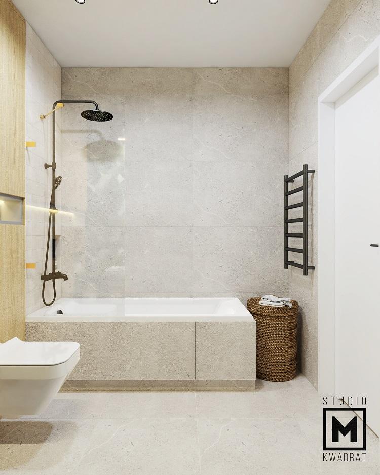 projekt jasnej łazienki wykończonej kamieniem