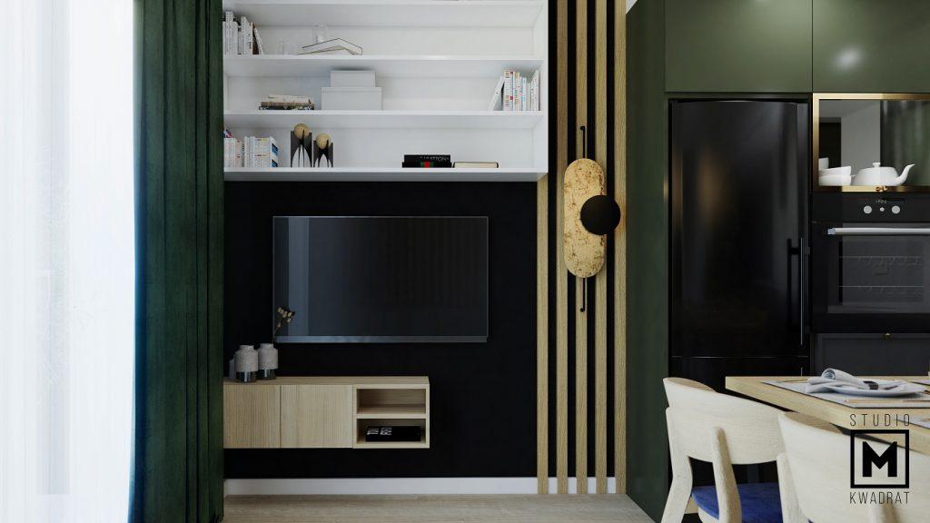 projekt ścianki tv w salonie z lamelami drewnianymi