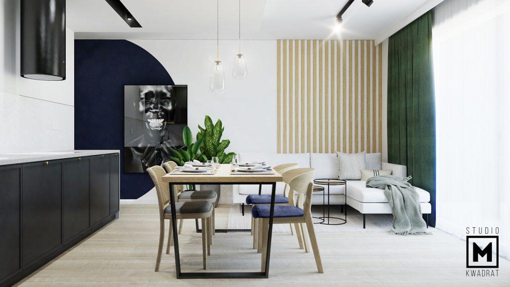 projektant wnętrz salon sielone zasłony aneks kuchenny z jadalnią