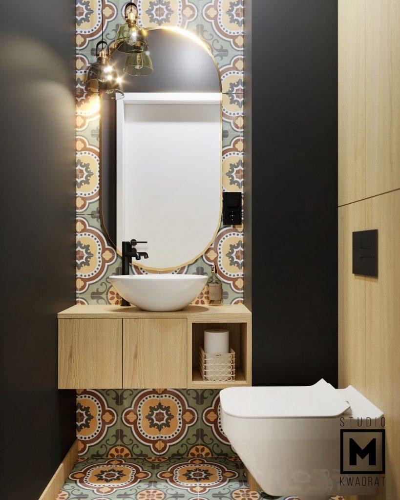 mała toaleta projekt wnętrza z wzorzystymi płytkami w stylu marokańskim
