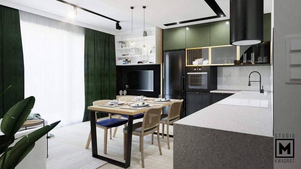 projekt salonu z kuchnią z zielonymi i złotymi akcentami w stylu etno