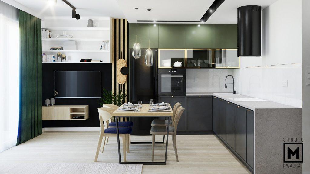 salon z kuchnią z zielonymi akcentami projekt wnętrz warszawa