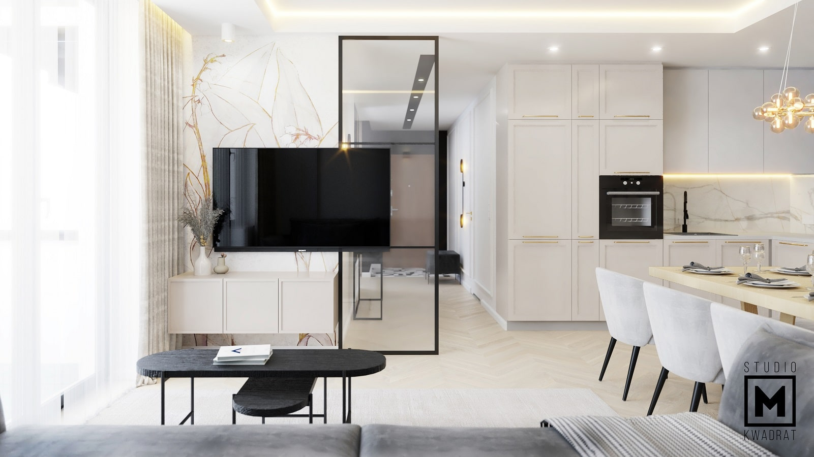ekstrawagancka ścianka tv w projekcie wnętrz poznań-min