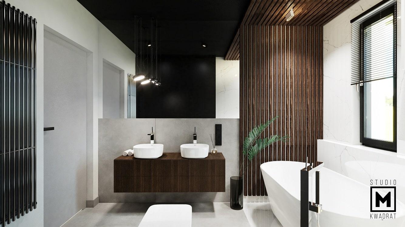 łazienka z dwoma umywalkami dużym lustrem drewnianymi lamelami naturalne materiały drewno i kamień-min